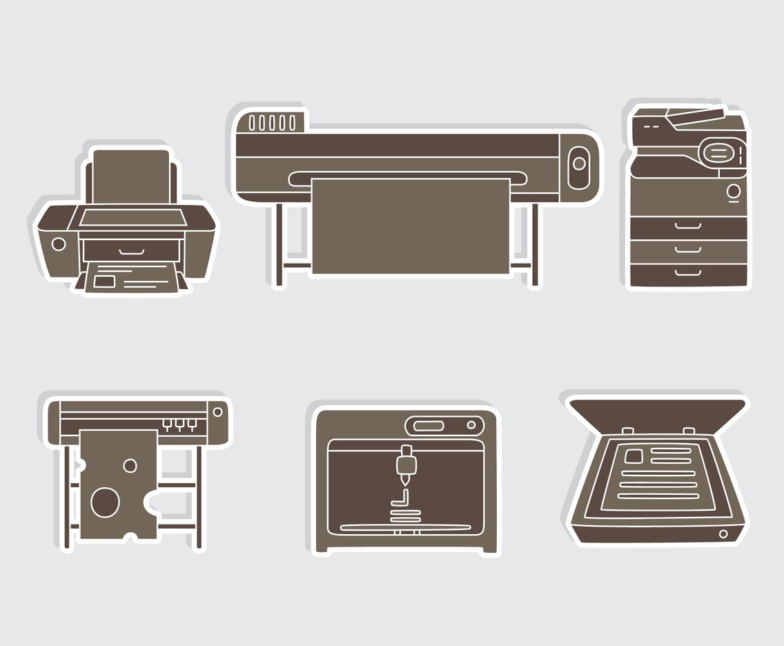 Copier Printing Icons Vector