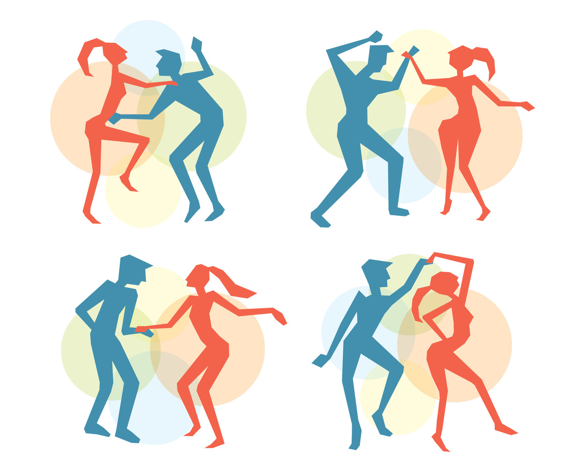 Salsa Dance Colorful Silhouette Vector