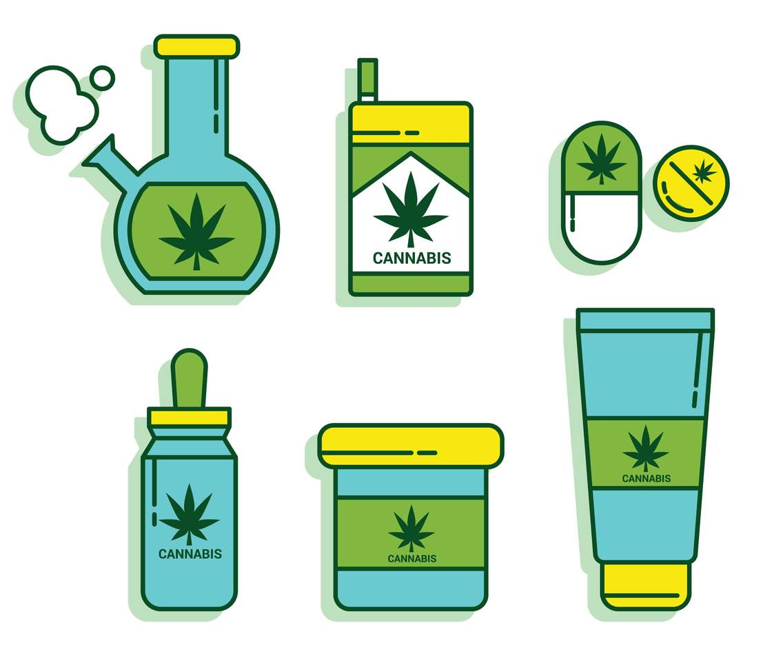 Cannabis Products and Paraphernalia Vector Set