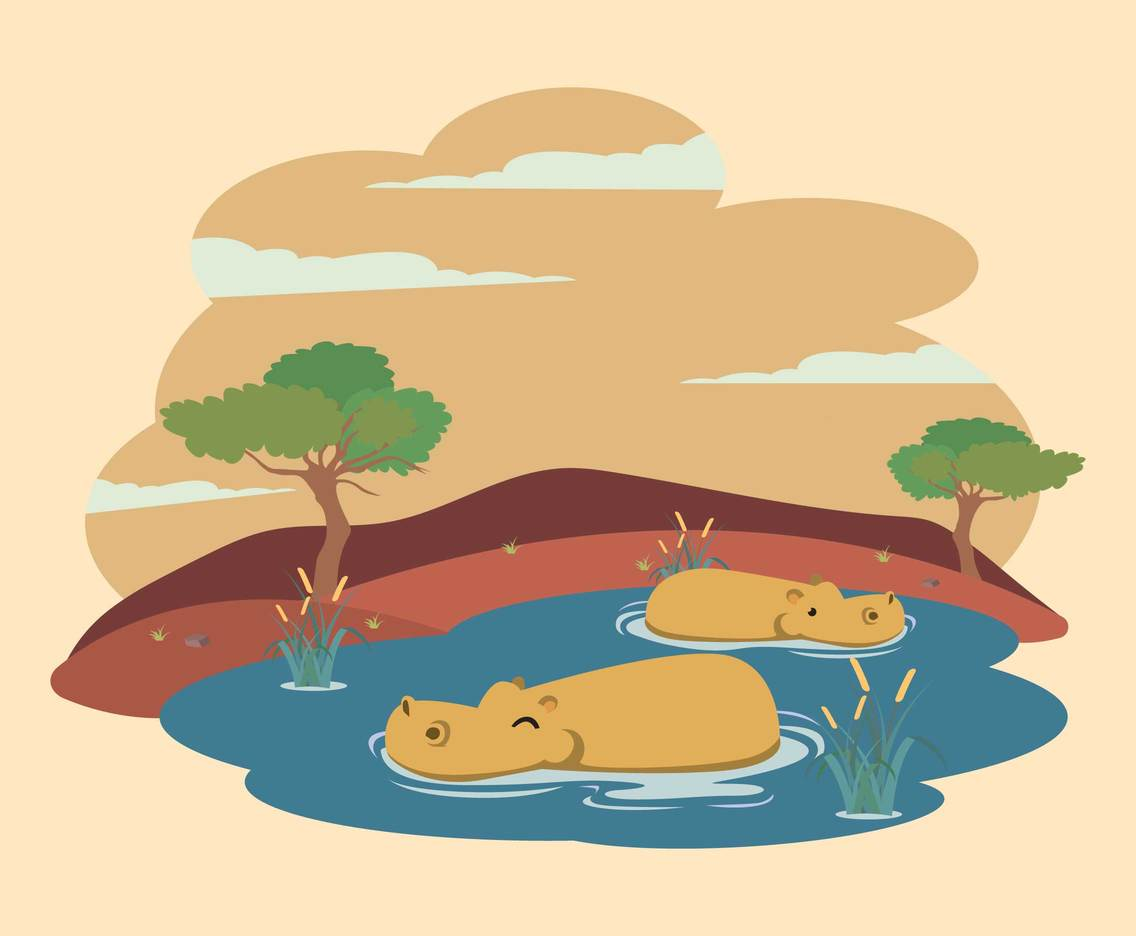 Hippo In Water Illustration