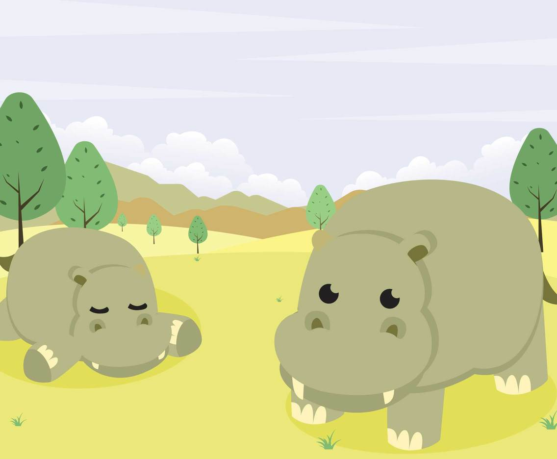 Two Cute Hippo Illustration