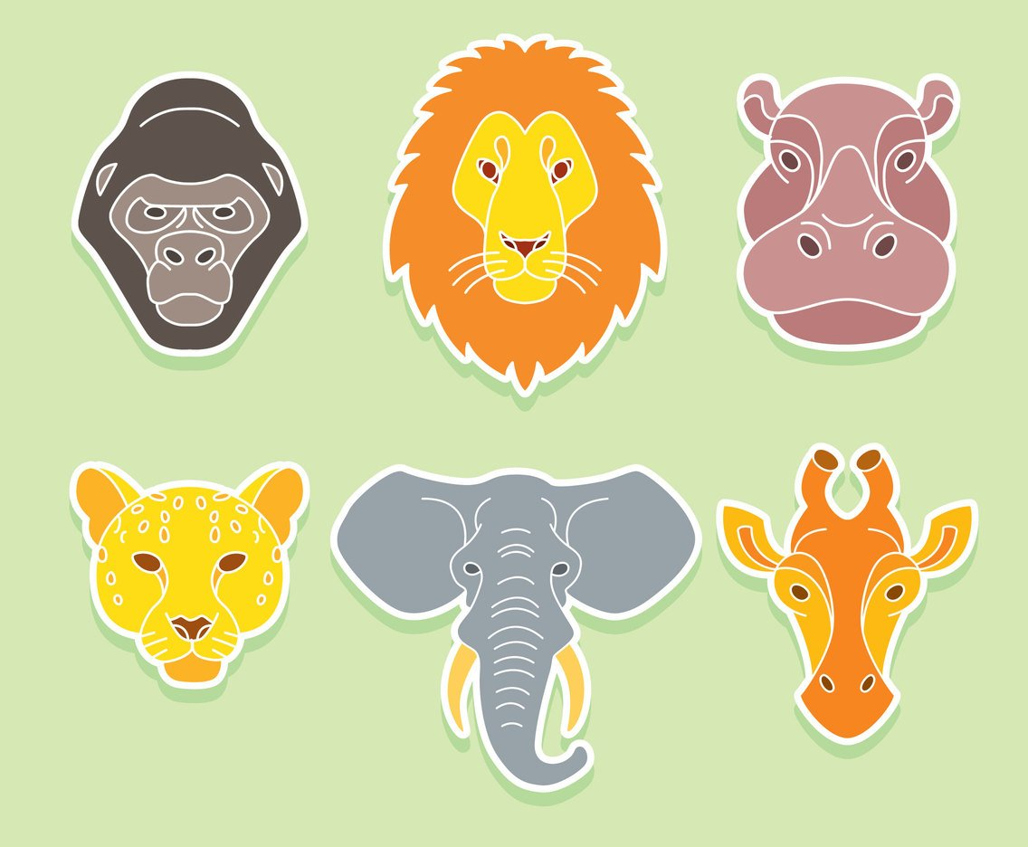 Africa Animal Face Vector