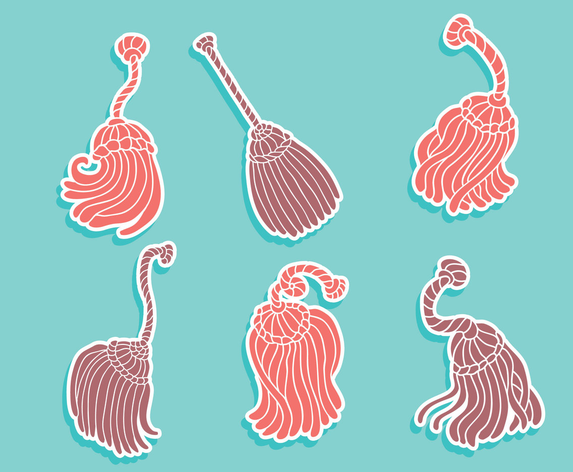 Pink And Purple Tassel Collection Vector