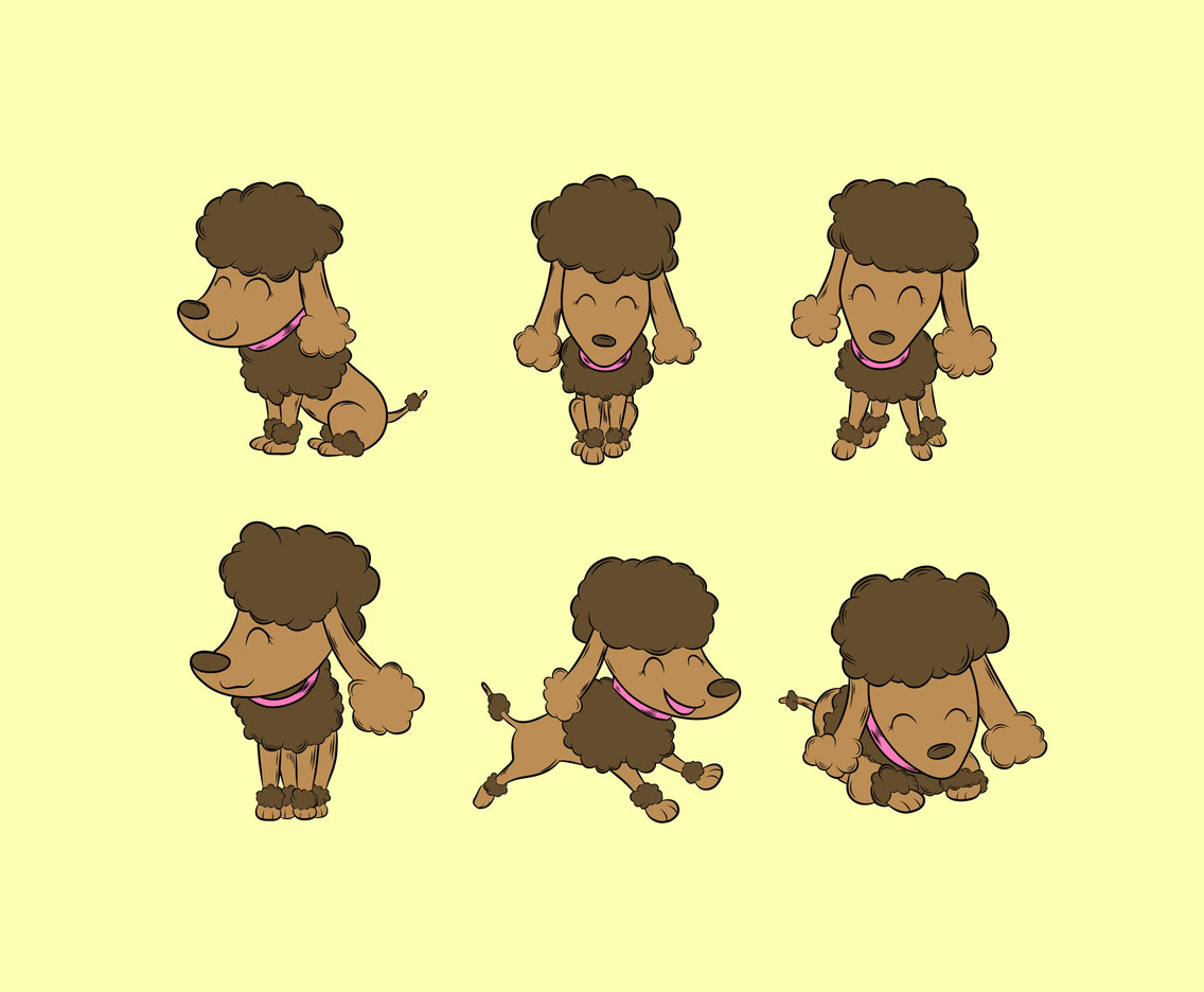 Cute Poodles Vector