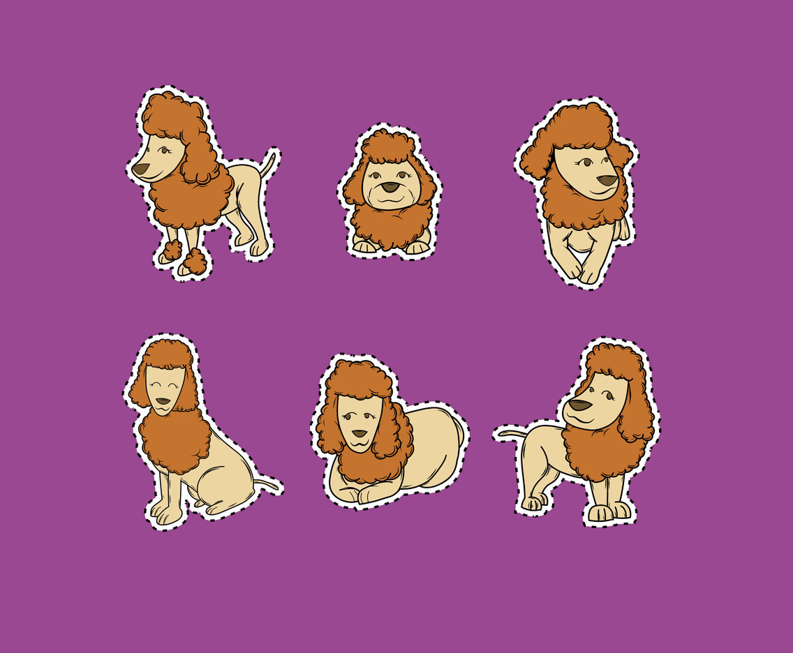 Poodle Stickers Vector