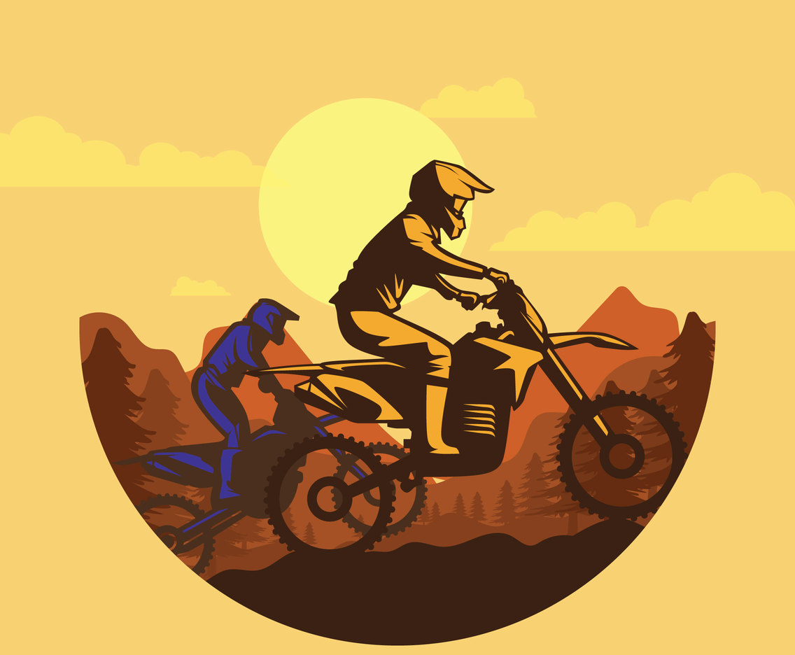 Free Two Morocrosser With Mountain Background Illustration