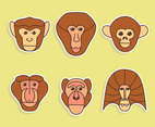 Nice Ape Face Collection Vector