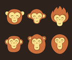Cheerful Ape Face Collection Vector