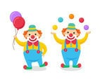 Clown Holding Ballons and Juggling With Ball