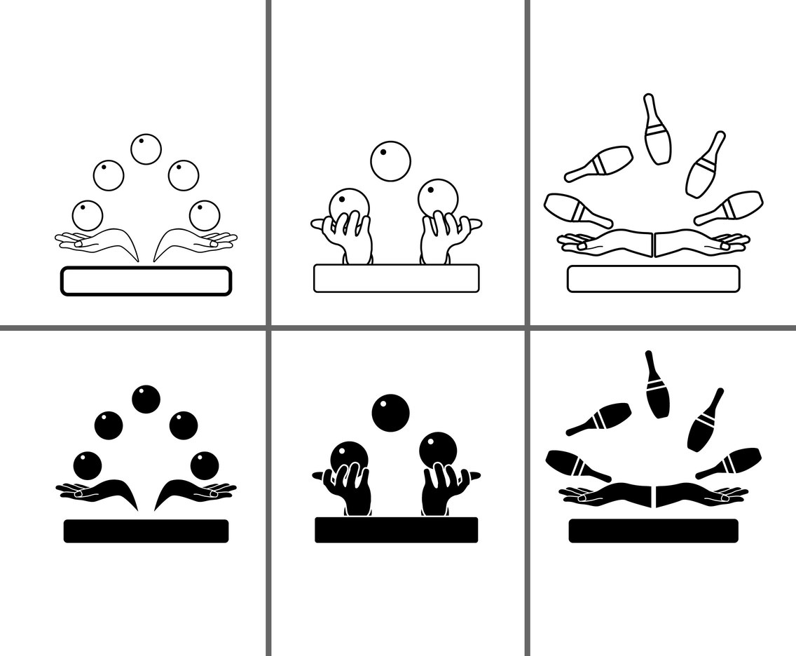Juggling icon set