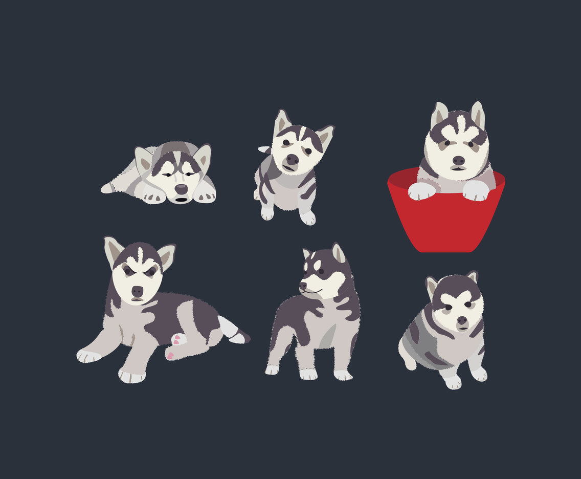 Husky Puppies Vector