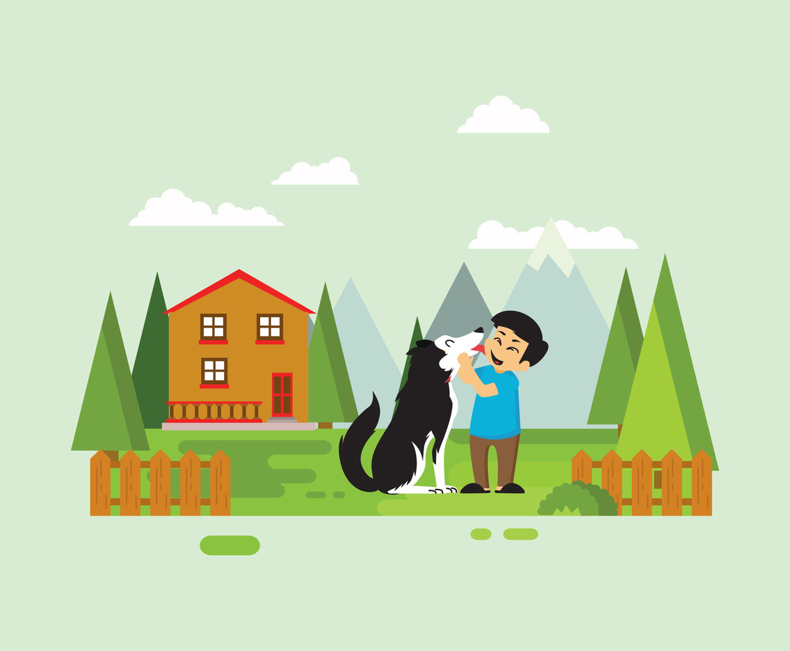 Husky and Kid Illustration