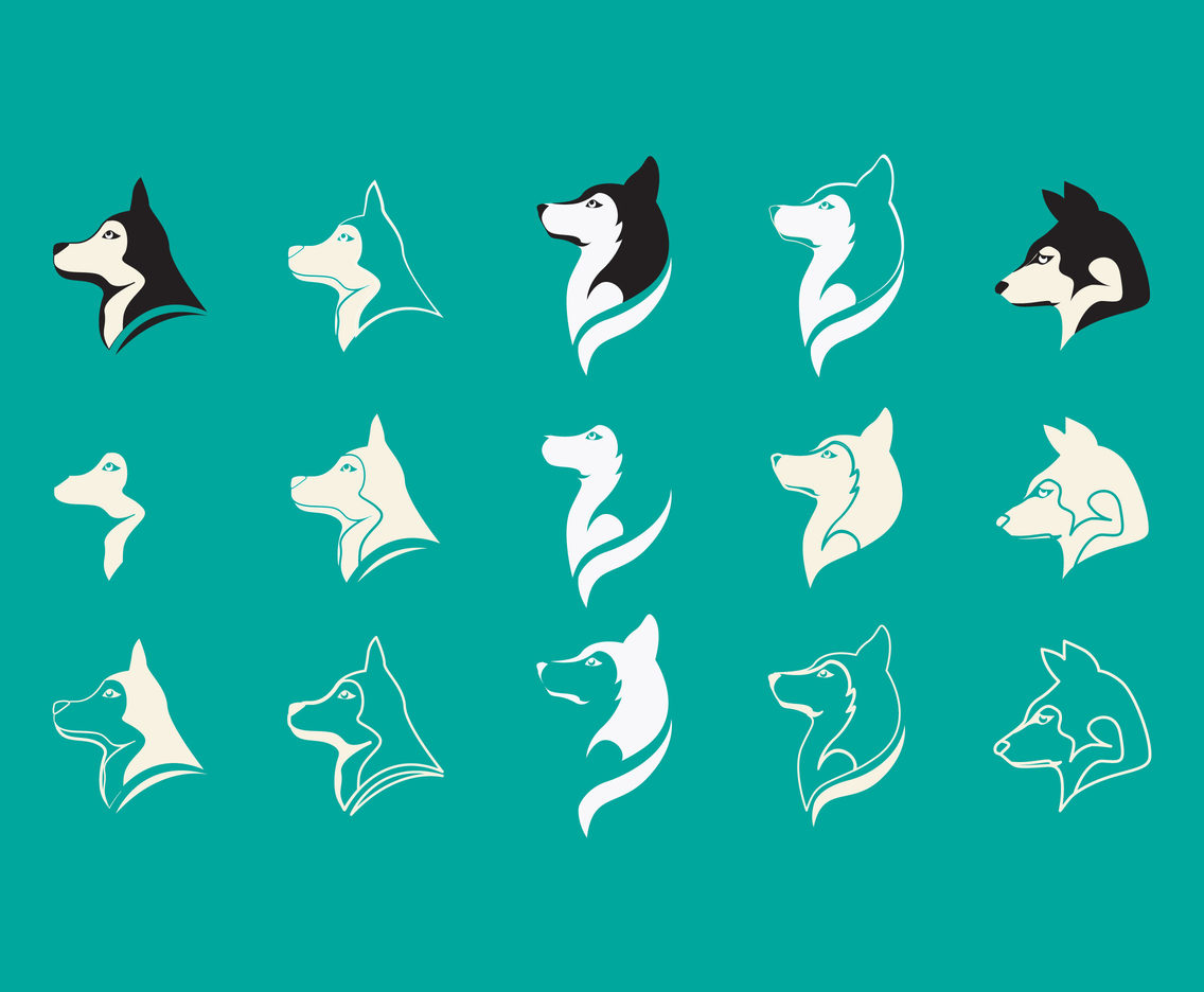 Husky Head Icon Vectors