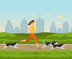 Woman Jogging with Dogs Vector