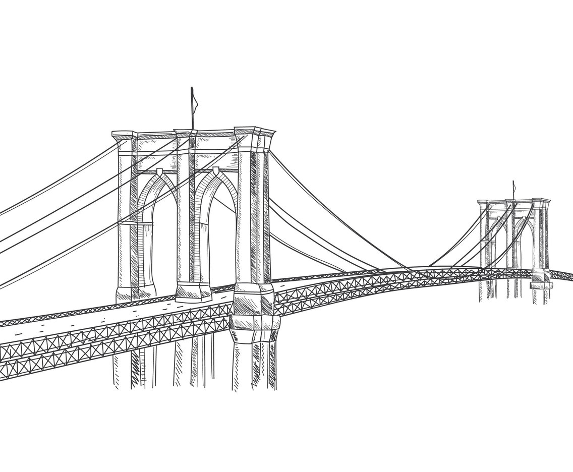 Hand Drawn Brooklyn Bridge
