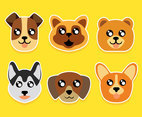 Super Cute Dog Face Collection Vector