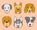 Hand Drawn Dog Face Collection Vector
