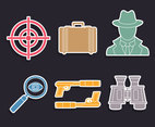 Spy Element Icons Vector