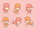 Cute Cartoon Poodle Vectors