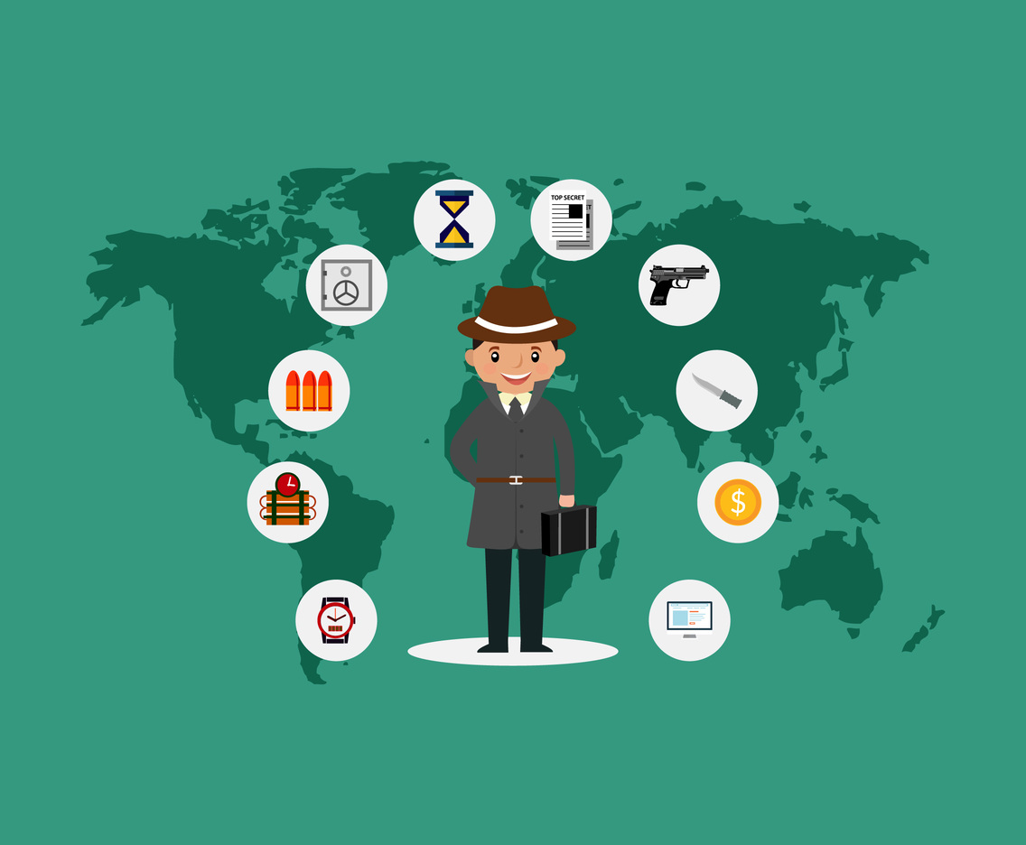 International Spy Infographic Vector