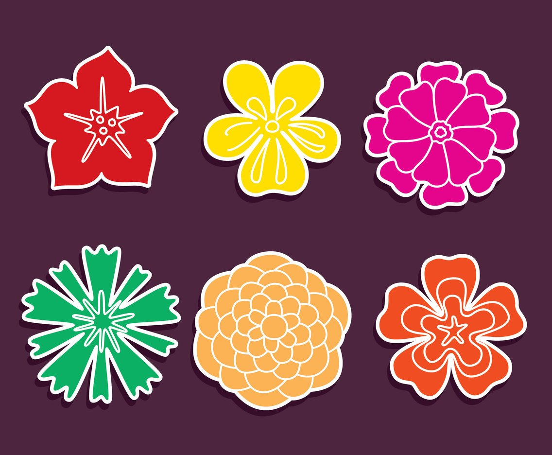 Colored Flowers Icons Vector
