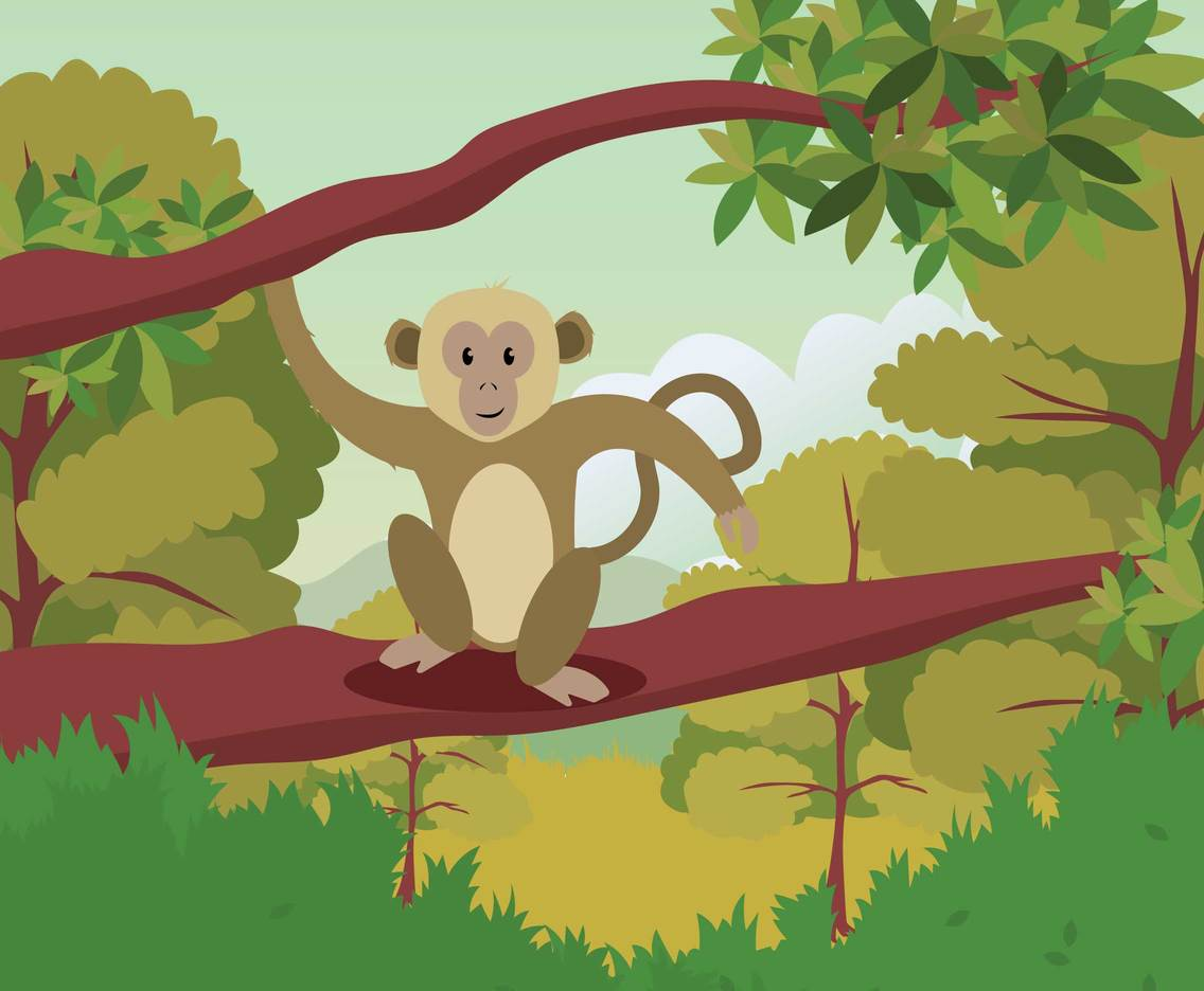 Ape Climbing On Tree Illustration