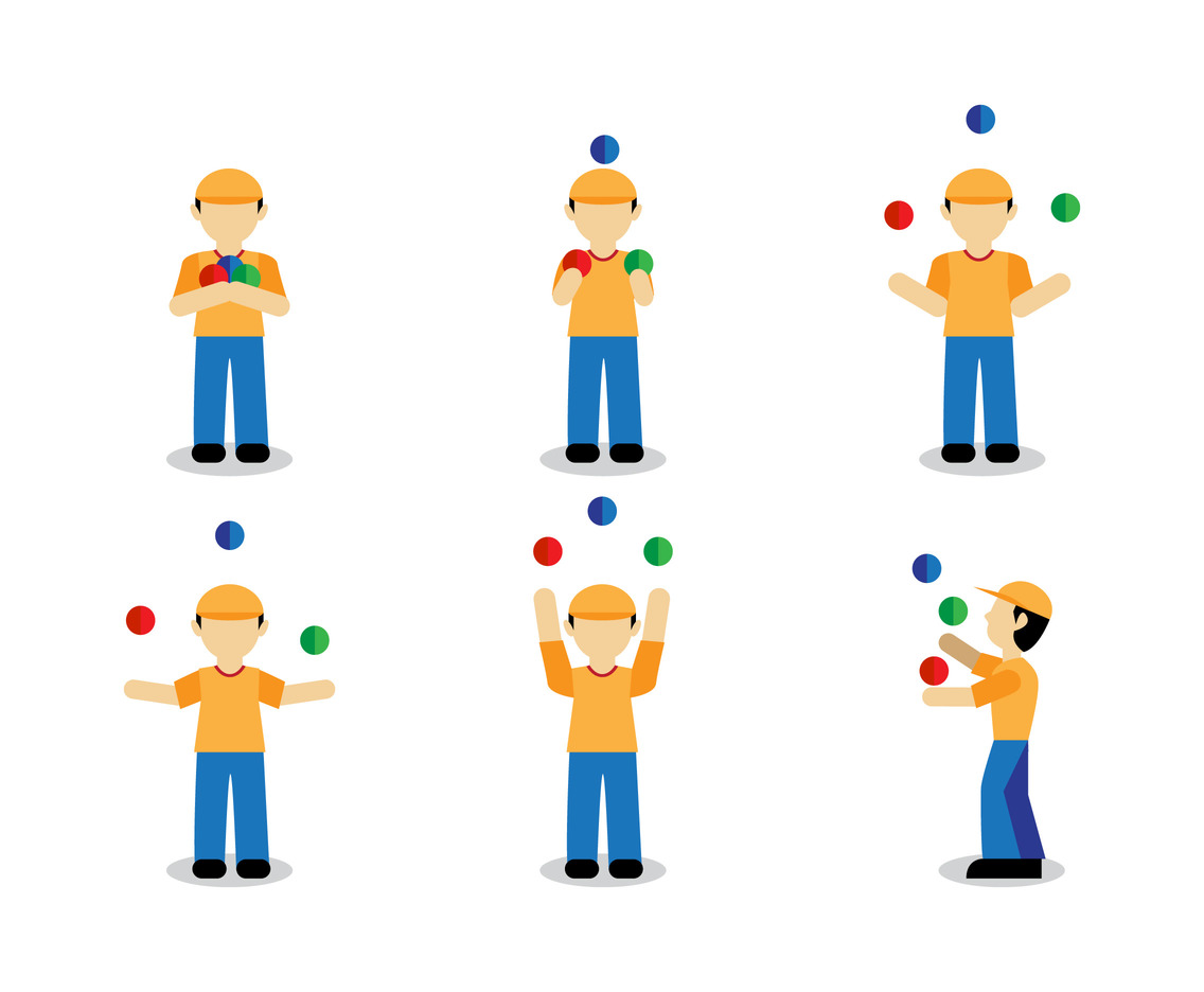Man juggling flat vectors