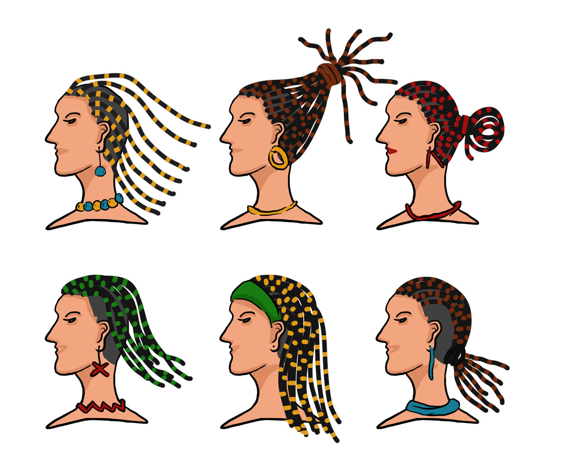 Woman with Dreadlocks Vector Pack