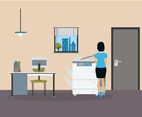 Secretary Making Copies Vector Scene