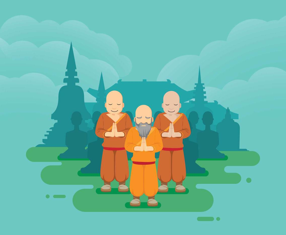 Buddhist Monk With Temple Silhouette Illustration