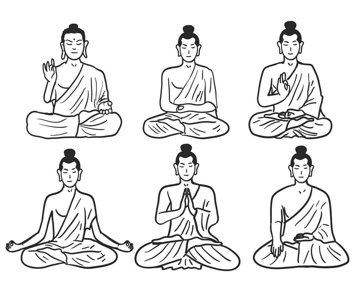 Buddhist pose sketch vector set