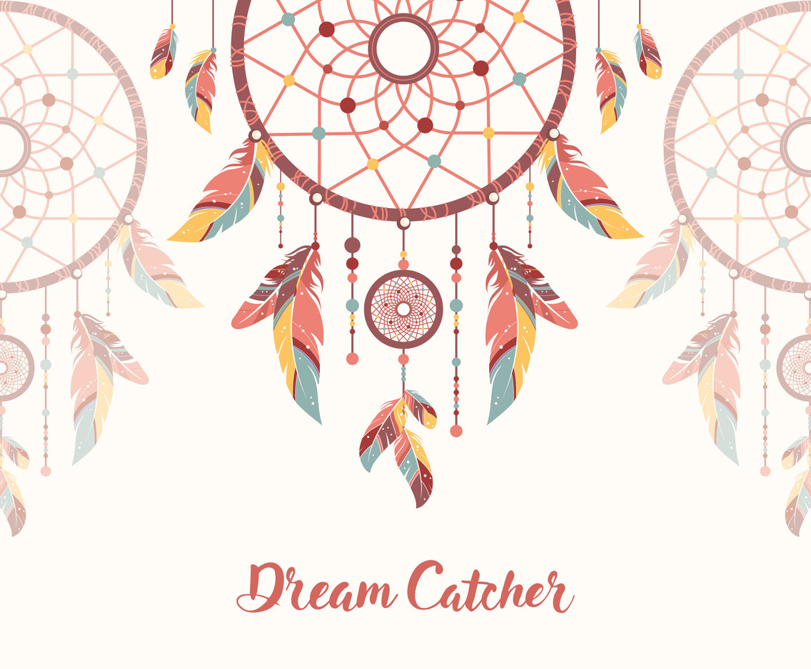 Ethnic hippie dreamcatcher background vector vector art for Dream catcher graphic