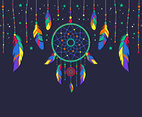Hippie Dreamcatcher Vector with Feathers And Beads