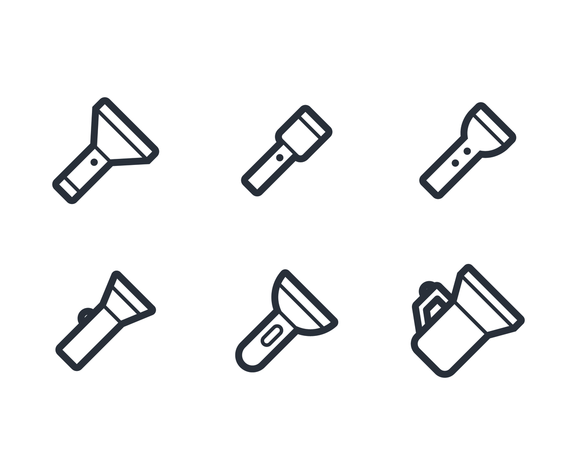 Flashlight Linear Icon Vectors