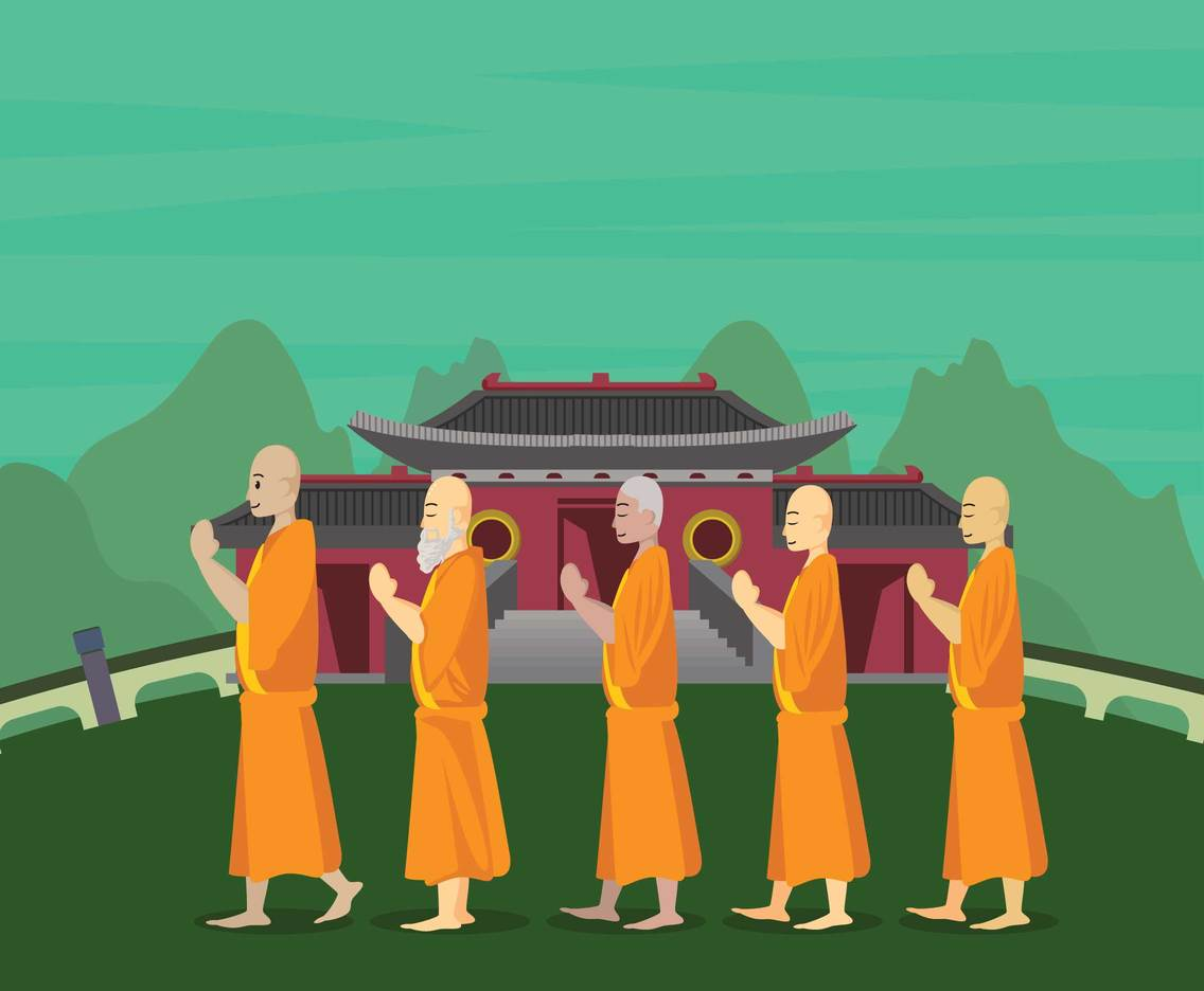 Row Of Buddhist Monks Illustration