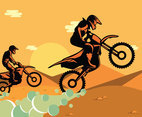 Free Motocross In Desert Illustration
