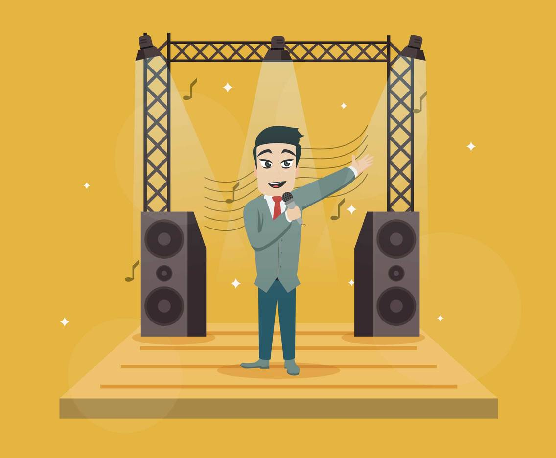 Free Singer Singing On Stage Illustration