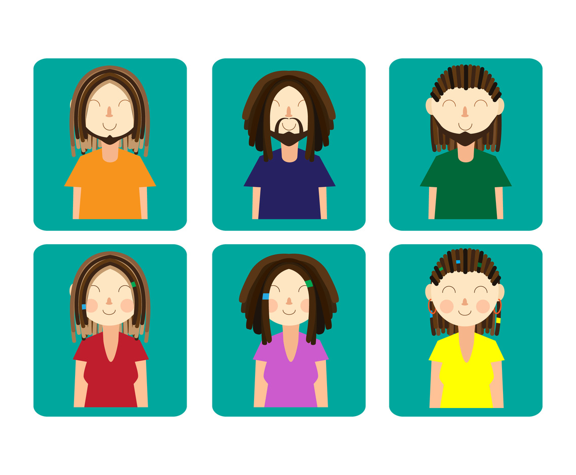 Women and men with dreadlocks vectors