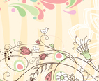 Decorative Swirly Background with Birds