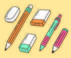 Pencil And Eraser Collection Vector