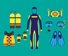 Diving Equipment Icon Set