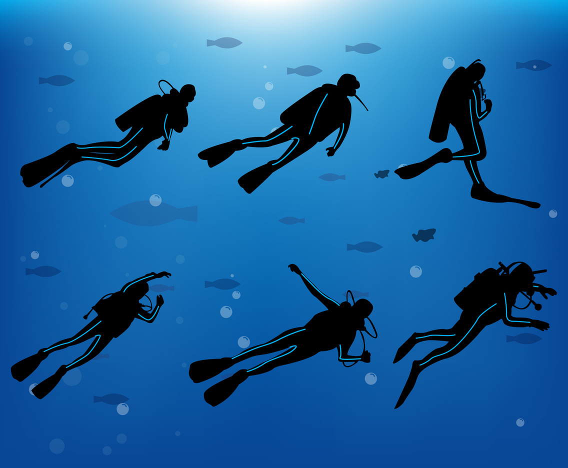 diver silhouette vector art graphics