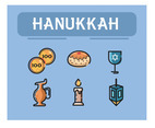 Hanukkah Icon Vector Blue Background