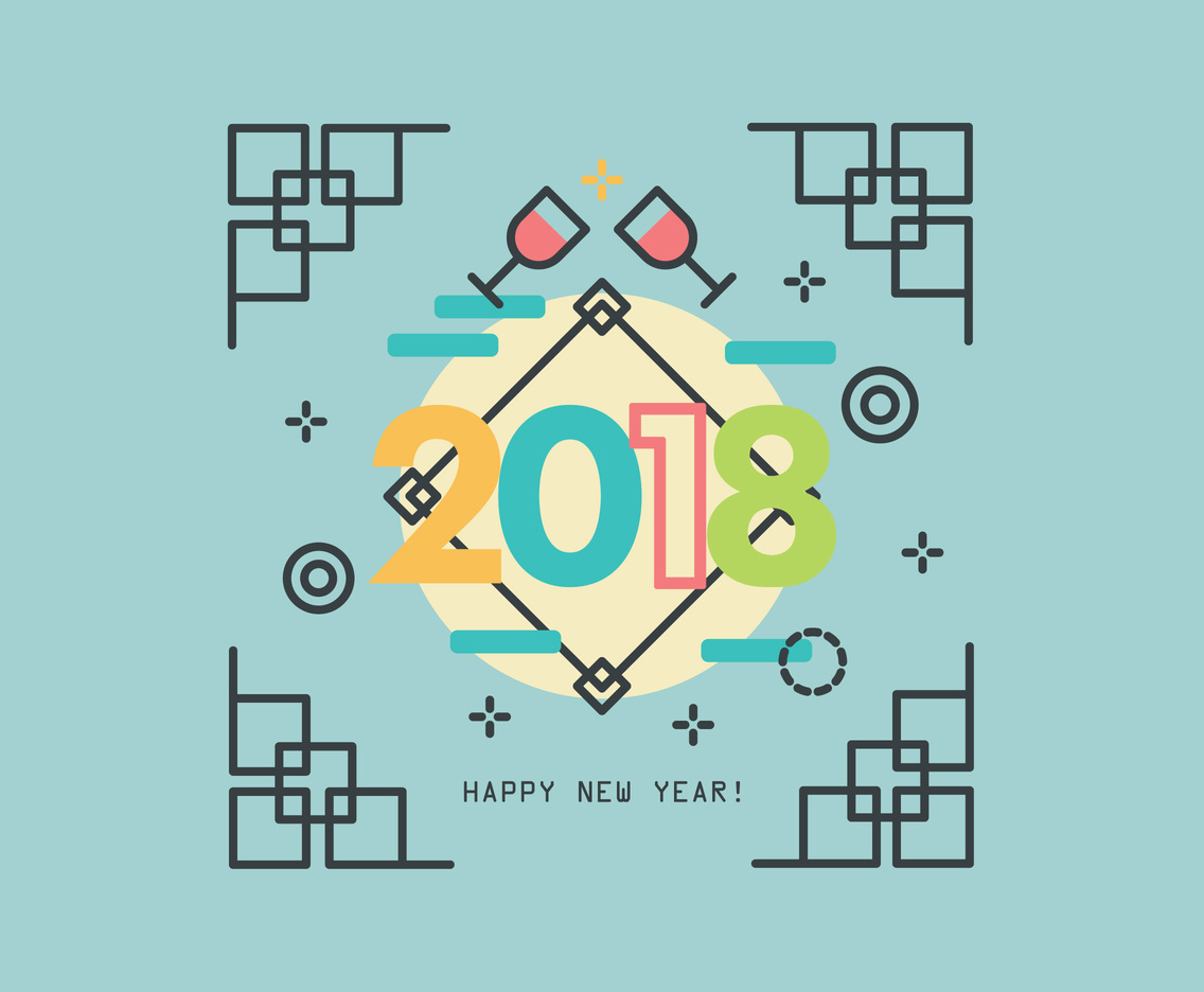 Trendy Style New Year Vector