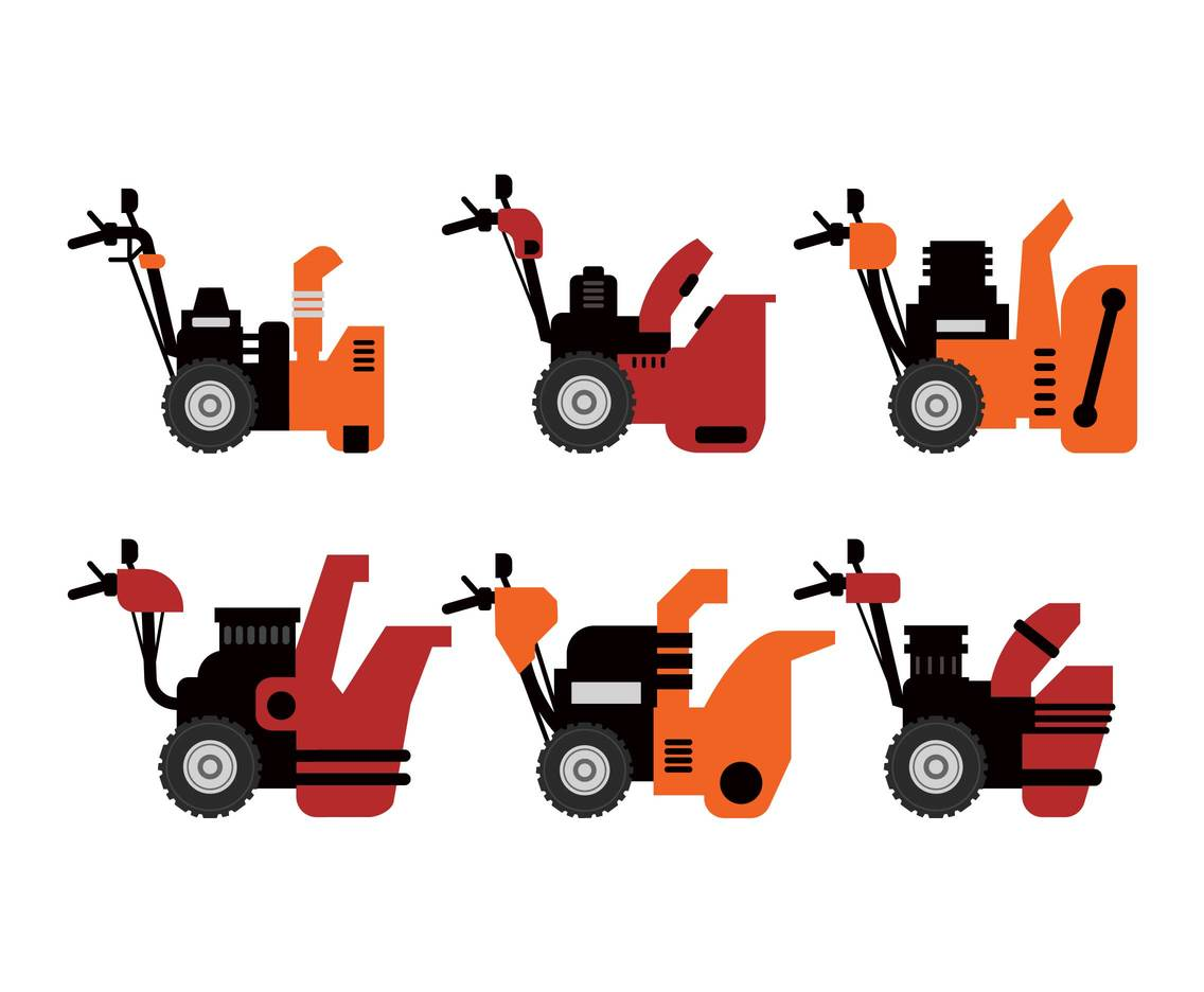 Snow blower vector illustration set