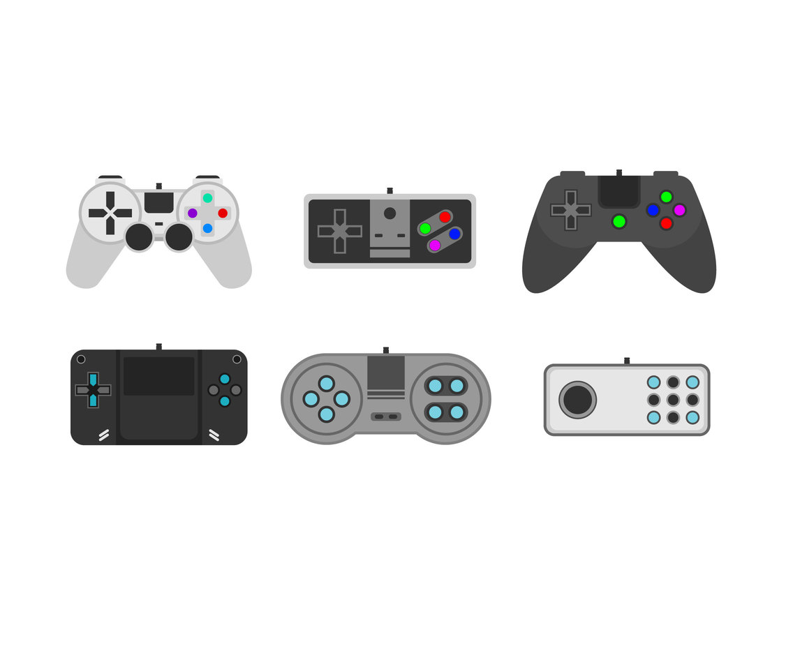 Isolated Classic Joysticks Vector