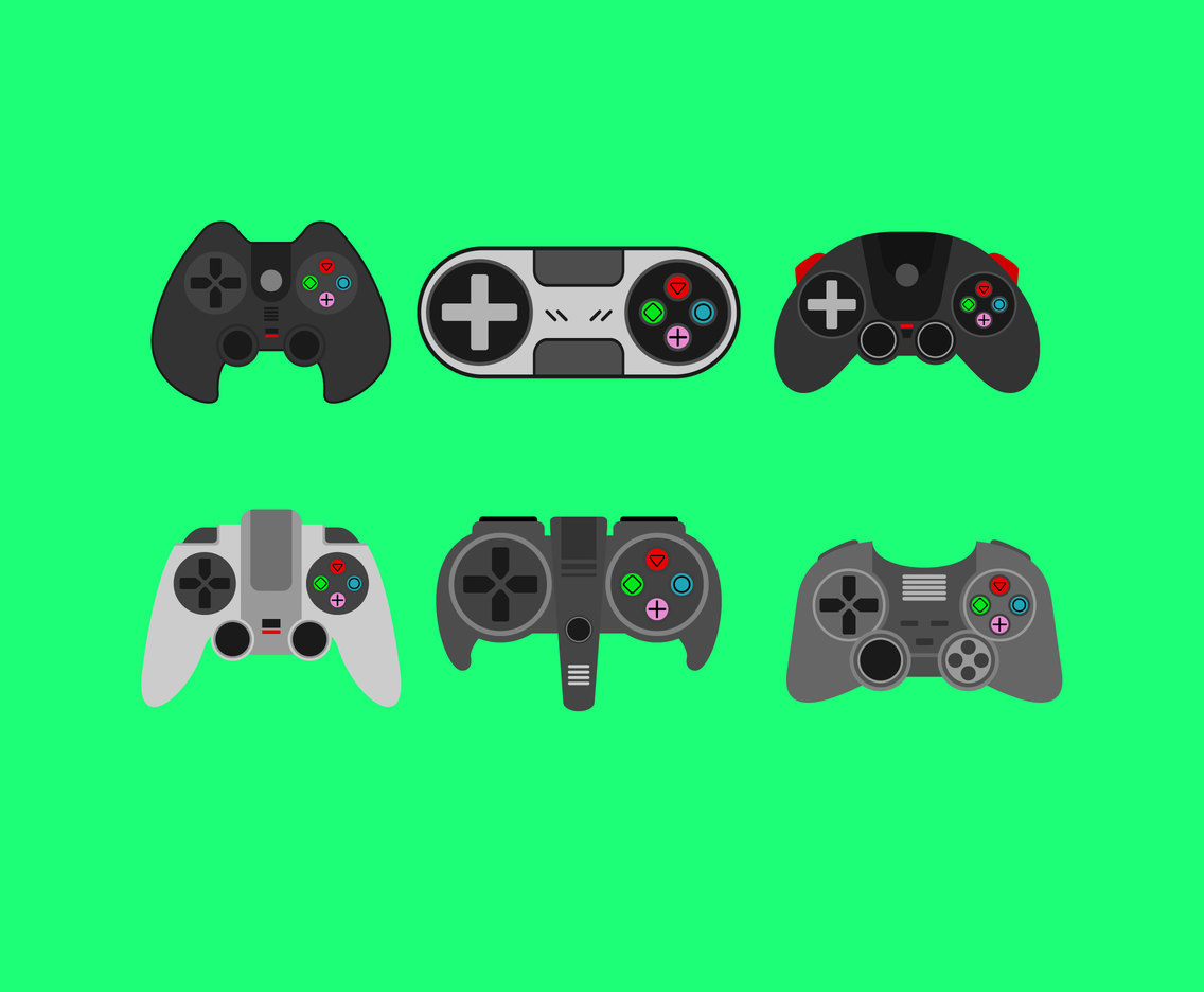 Flat Design Joysticks Vector