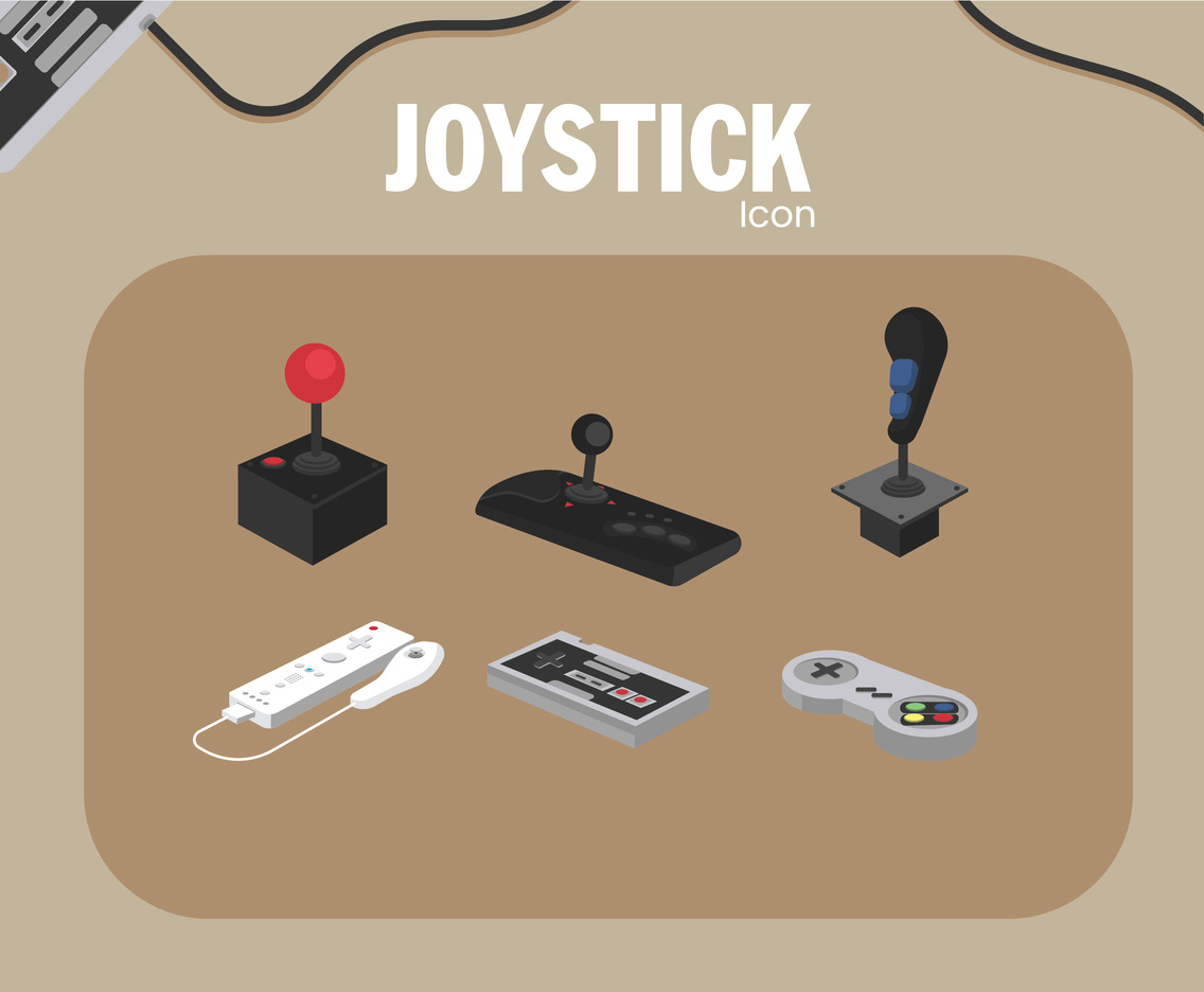 Joystick Icon Vector Brown Background