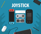 Joystick Icon Vector Blue Background
