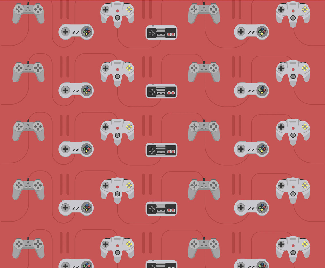 Joystick Vector Pattern Pink Background
